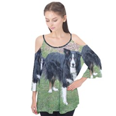 Border Collie Black Tri Full Flutter Tees