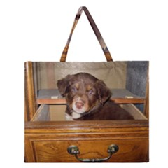 Border Collie Puppy In Drawr Zipper Large Tote Bag