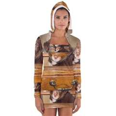 Border Collie Puppy In Drawr Women s Long Sleeve Hooded T-shirt