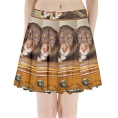 Border Collie Puppy In Drawr Pleated Mini Skirt