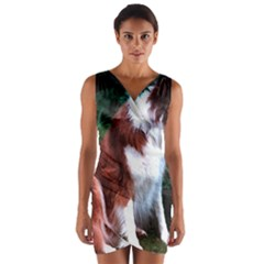 Border Collie Sitting 2 Wrap Front Bodycon Dress