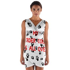 My Border Collie Walks On Me Wrap Front Bodycon Dress