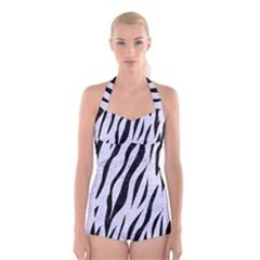 SKN3 BK-WH MARBLE (R) Boyleg Halter Swimsuit