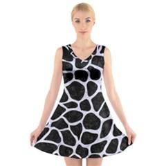 SKN1 BK-WH MARBLE (R) V-Neck Sleeveless Skater Dress