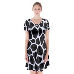 SKN1 BK-WH MARBLE (R) Short Sleeve V-neck Flare Dress