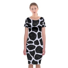 SKN1 BK-WH MARBLE (R) Classic Short Sleeve Midi Dress