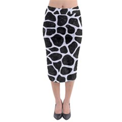 SKN1 BK-WH MARBLE (R) Midi Pencil Skirt