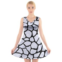 SKN1 BK-WH MARBLE V-Neck Sleeveless Skater Dress