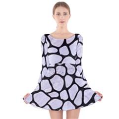 SKN1 BK-WH MARBLE Long Sleeve Velvet Skater Dress