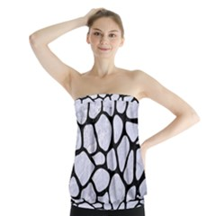 SKN1 BK-WH MARBLE Strapless Top