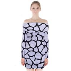 SKN1 BK-WH MARBLE Long Sleeve Off Shoulder Dress