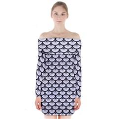 SCA3 BK-WH MARBLE (R) Long Sleeve Off Shoulder Dress
