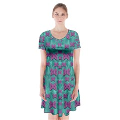 Peace And Freedom Over The Sea Of Softness Short Sleeve V-neck Flare Dress