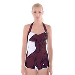 Boykin Spaniel Cartoon Boyleg Halter Swimsuit