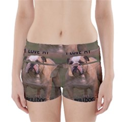 Bulldog Fawn And White Love W Pic Boyleg Bikini Wrap Bottoms