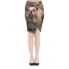 Bulldog Fawn And White Love W Pic Midi Wrap Pencil Skirt