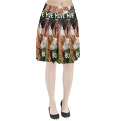 Bulldog Red And White Love W Pic Pleated Skirt