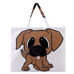 Bullmastiff Fawn Cartoon Zipper Large Tote Bag
