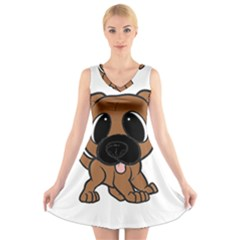 Bullmastiff Fawn Cartoon V-Neck Sleeveless Skater Dress