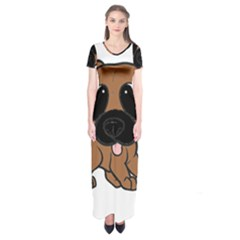 Bullmastiff Fawn Cartoon Short Sleeve Maxi Dress