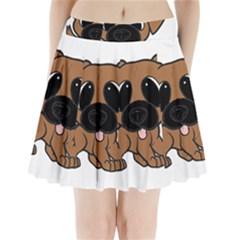 Bullmastiff Fawn Cartoon Pleated Mini Skirt