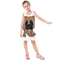 Bullmastiff Fawn Cartoon Kids  Sleeveless Dress