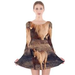 Bullmastiff Full Long Sleeve Velvet Skater Dress