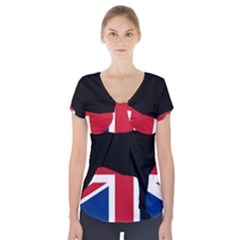 Bullmastiff Silhouette Flag United Kingdom Short Sleeve Front Detail Top