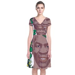 Kith Me I m Irith, Mike Tyson St Patrick s Day Design Short Sleeve Front Wrap Dress