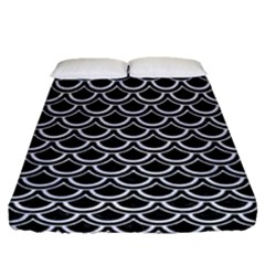 Scales2 Black Marble & White Marble Fitted Sheet (queen Size)