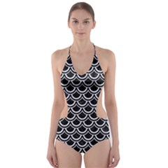 SCA2 BK-WH MARBLE Cut-Out One Piece Swimsuit