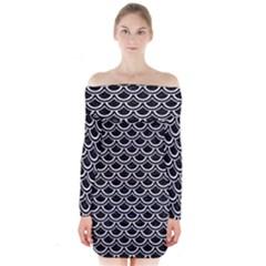 SCA2 BK-WH MARBLE Long Sleeve Off Shoulder Dress