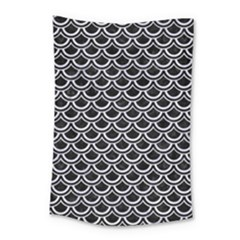 Scales2 Black Marble & White Marble Small Tapestry