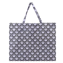 SCA2 BK-WH MARBLE (R) Zipper Large Tote Bag