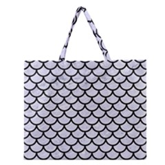 SCA1 BK-WH MARBLE (R) Zipper Large Tote Bag