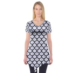 SCA1 BK-WH MARBLE (R) Short Sleeve Tunic