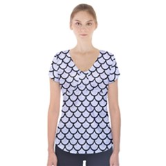 SCA1 BK-WH MARBLE (R) Short Sleeve Front Detail Top