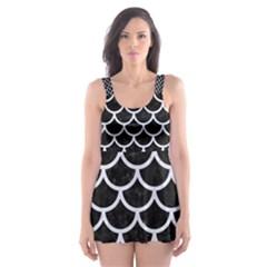 SCA1 BK-WH MARBLE Skater Dress Swimsuit