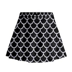 SCA1 BK-WH MARBLE Mini Flare Skirt