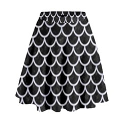 SCA1 BK-WH MARBLE High Waist Skirt