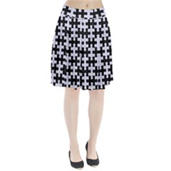 PUZ1 BK-WH MARBLE Pleated Skirt