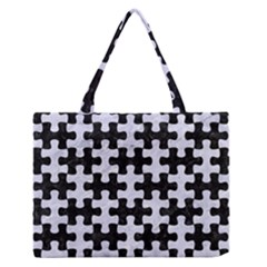 PUZ1 BK-WH MARBLE Medium Zipper Tote Bag
