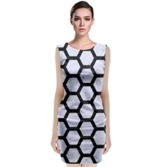 HXG2 BK-WH MARBLE (R) Classic Sleeveless Midi Dress