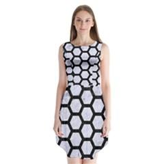 HXG2 BK-WH MARBLE (R) Sleeveless Chiffon Dress