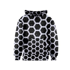 Hexagon2 Black Marble & White Marble Kids  Pullover Hoodie