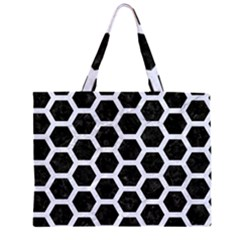 HXG2 BK-WH MARBLE Large Tote Bag