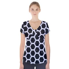 HXG2 BK-WH MARBLE Short Sleeve Front Detail Top