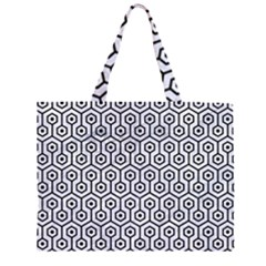 HXG1 BK-WH MARBLE (R) Large Tote Bag