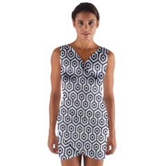 HXG1 BK-WH MARBLE (R) Wrap Front Bodycon Dress