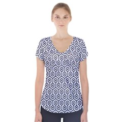 HXG1 BK-WH MARBLE (R) Short Sleeve Front Detail Top